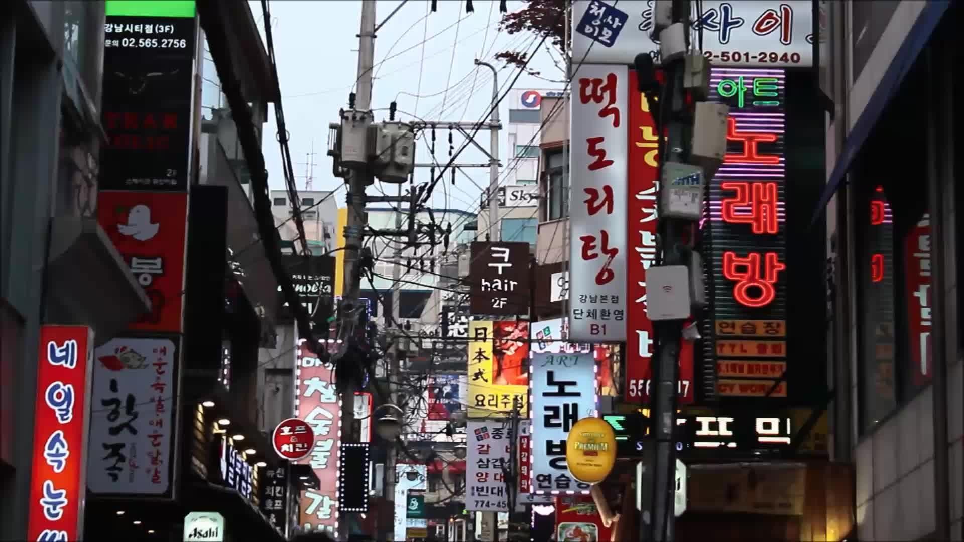 [저작권없는] 서울/시내/강남 네온사인/간판 영상